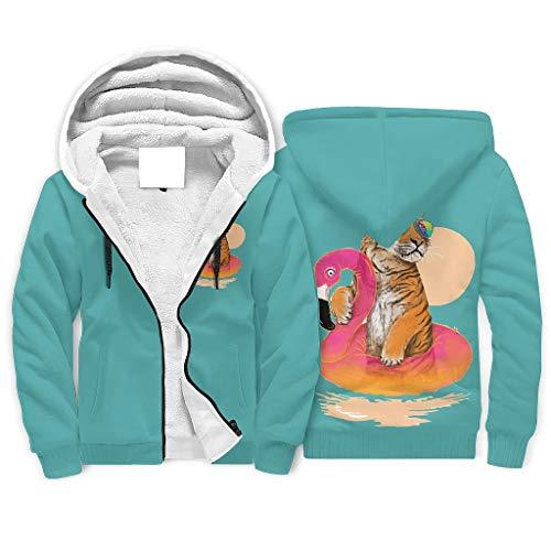 XHJQ88 Unisex Zip Up Winter Fleece Hoodies Gevoerde Jongens Tijger&Flamingos Gedessineerd Populair - Zwemmen Ronde hals Comfortabele Uniform voor Bestfriend Gifts