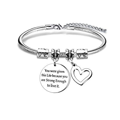 YONGHUI Inspirational Charm Snake Bangle Bracelets For Women Teenage Girls Birthday Christmas Jewellery Gifts Engraved You Were Given This Life Because You Are Strong Enough to Live It Stainless Steel
