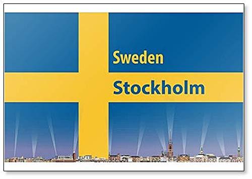 Kühlschrankmagnet mit Illustration von Stockholm City Skyline mit Schweden-Flagge