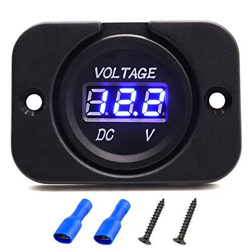 DC 12V LED Digital Display Voltmeter Car Voltage Gauge, Waterproof Digital Voltage Tester Gauge Meter with Round Panel for Marine Boat Vehicle ATV UTV Motorcycle Truck