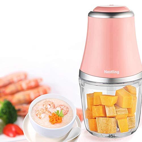 Nestling 280W Minipicadoras Eléctrico Picador, 600 ml Procesador de Alimentos para Picar Vegetales, Triturador de 3 Cuchillas Afiladas para Carne, Frutas y Nueces (Rosa)