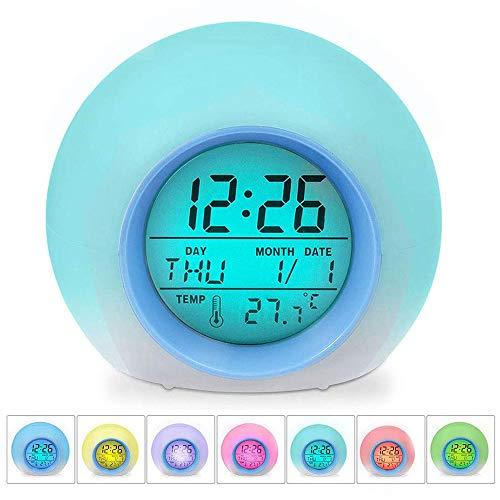 QYYL Despertador Digital Electrónico, con Control de sueño y Pantalla de Temperatura Interior para niños, niños, Trabajadores, Estudiantes, 7 Colores (9.5x9.5x9cm)