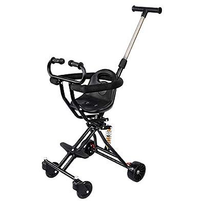Cochecito de bebé, GUO@ Rollover Prevention Baby Trolley 4 Ruedas Plegable Carro De Bebé Simple Triciclo Ligero Deslizante Bebé Artefacto