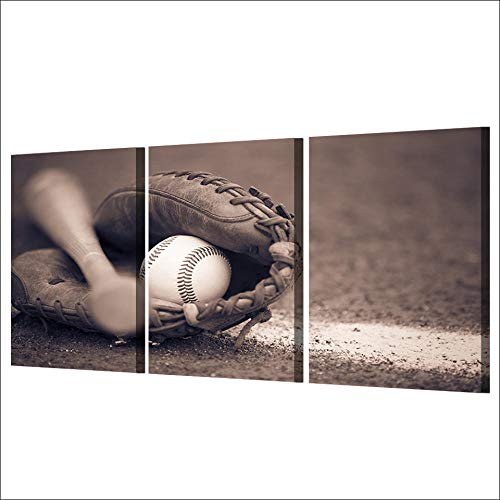 FA LEMON Baseball Wandkunst Leinwand Gemälde Bilder Drucke Modular Poster für Wohnzimmer Home Decor-50x70cmx3 STK. Kein Rahmen