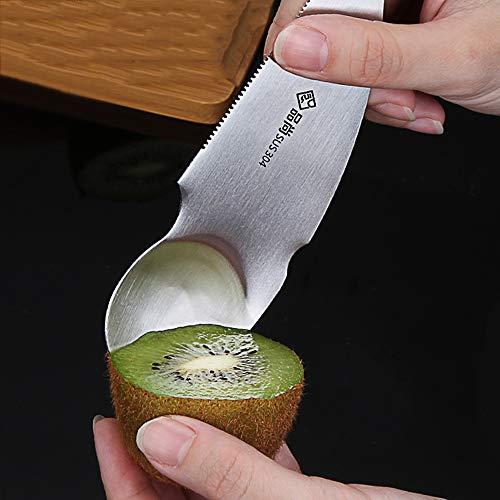 FTLY Edelstahl-Kiwi-spezielles Messer, das orange Grapefruit-Messer abzieht, das Kiwi-Frucht-Messer schneidet, das Ei Graben, Fleisch-Löffel Berufsküchengerät