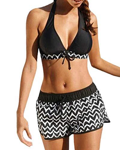 Yutdeng Costume da Bagno Donna Sexy Bikini Regolabile Halter Costume da Bagno Taglie Forti Piscina Beachwear Due Pezzi Tankini