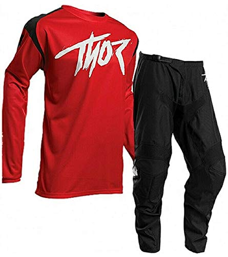 THOR MX SECTOR LINK 2020 Adult Race Suit Motocross Shirt Trouser Quad Dirt Bike ATV Motorcycle Off Road Enduro BMX Jersey and Pant Set - Red (RED : TOP (L), 34 inches)