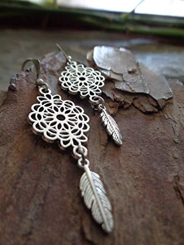 ⊹⊱✿ ORNAMENT & KLEINE ETHNO BOHO FEDER OHRRINGE ✿⊰⊹ einmalige Ohrringe in Silber