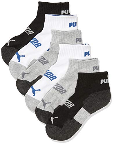 PUMA boys Quarter Crew Socks, Grey/Multi, 5-6.5 US