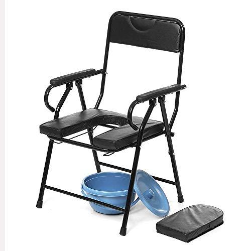 N/Z Einrichtungsgegenstände Tragbarer Badezimmersitz Kommodenstuhl Toilettensitz Stuhl Nachttisch Stahlrohr für Ped Schwangere Elder 93