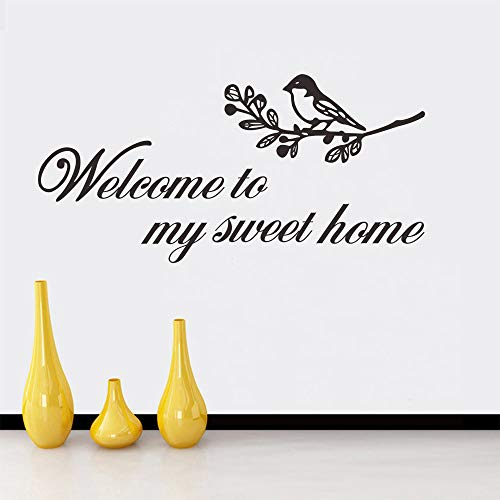 Welcome to My Sweet Home Calcomanía de vinilo con palabras inglesas, arte extraíble, para dormitorio, sala de estar, oficina, hogar, ventana