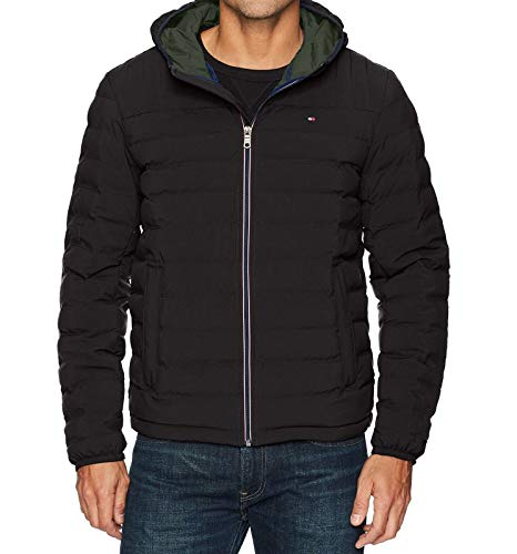 Tommy Hilfiger Men's Ultra Loft Quilted Stretch Hooded Puffer Jacket, black, Large
