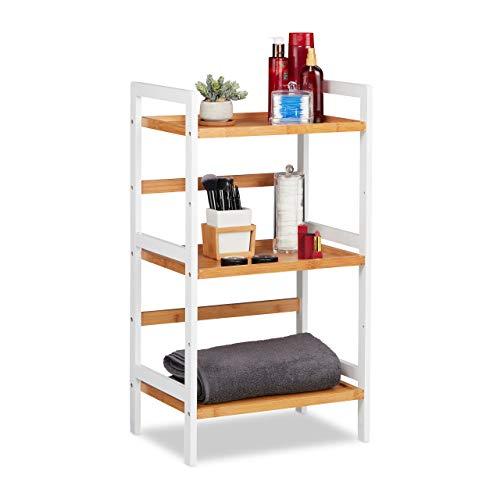 Relaxdays Badregal, Ablagen für Kosmetik, Handtücher & Utensilien, Bambusregal Badezimmer, HBT 80x45x31,5 cm, weiß/natur