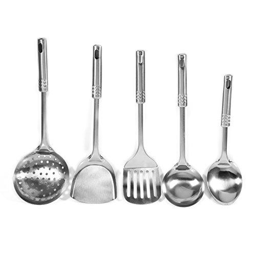 Fdit - Juego de 5 espátulas multifuncionales de acero inoxidable para utensilios de cocina