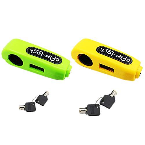 Casinlog - Juego de 2 cerraduras universales para manillar de motocicleta o patinete, freno y acelerador de seguridad, color verde y amarillo