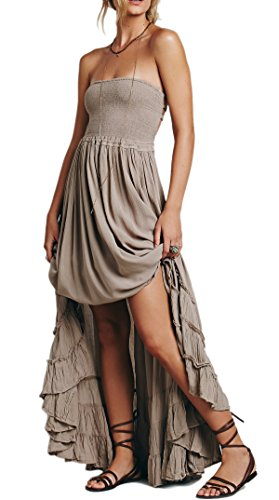 R.Vivimos Womens Summer Cotton Sexy Blackless Long Dresses Medium Gray