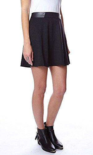 TOM TAILOR Denim Damen Bonded Flared Skirt 43cm/411 Rock, Schwarz (Black 2999), 42 (Herstellergröße: XL)