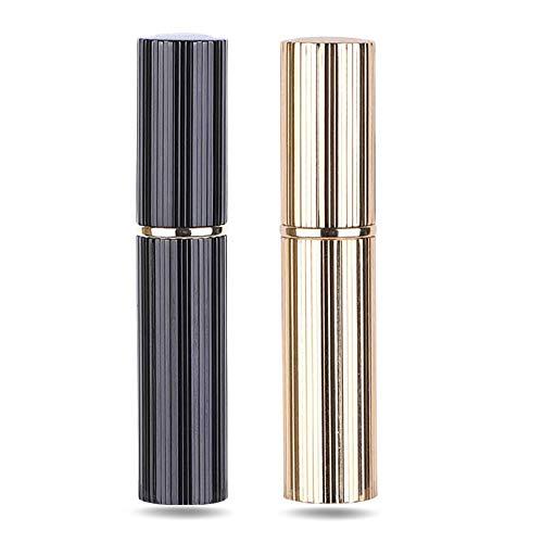 AsaNana Parfümzerstäuber nachfüllbar, Befülltechnik ohne Trichter leer Parfüm Zerstäuber Sprühflasche für Reise Handtasche unterwegs - 5ml (Pro-2P-Black&Glod)