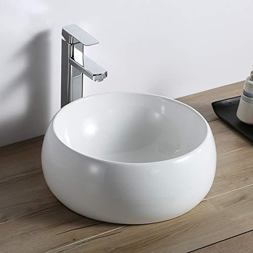 Ruvati 12 inch Bathroom Vessel Sink Round White Circular Above Counter Porcelain Ceramic - RVB0312
