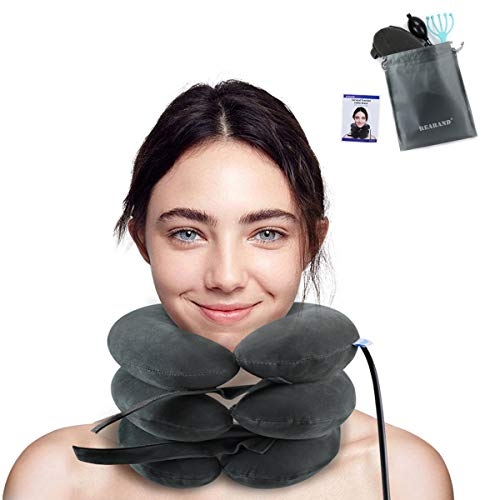 REARAND Cervical Neck Traction Device, Inflatable Cervical Traction Collar Brace Ideal for Neck Support Instant Relief for Chiropractic Chronic Neck Pain, Spine Alignment, Adjustable Pillow Size