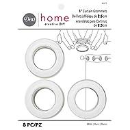 Dritz 44371 Plastic Curtain Grommets, 1-Inch, White, 8 Count