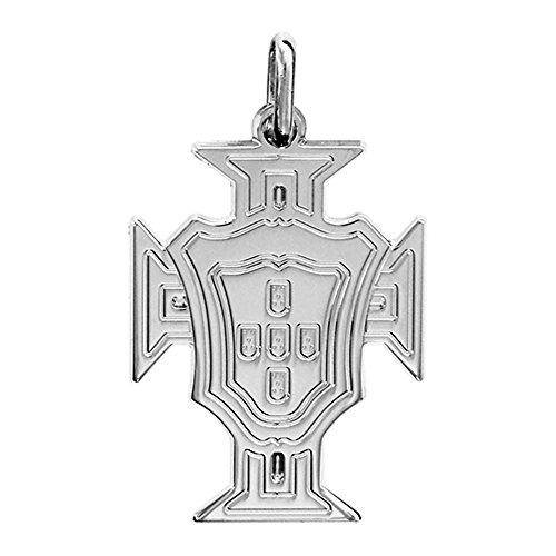 HELIOS BIJOUX - Pendentif Croix Portugal + Chaîne 50cm - Argent Massif 925°°° Rhodié - 2gr - Neuf