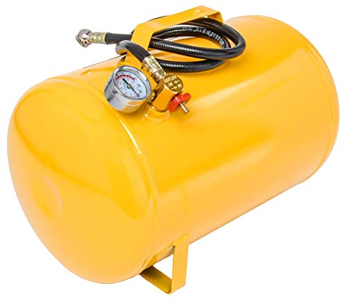 JEGS 5-Gallon Portable Air Tank | 125 PSI Maximum Pressure | Yellow Coated Steel | Includes Industrial-Grade Air Hose with Standard Air Chuck | Easy-To-Read Pressure Gauge