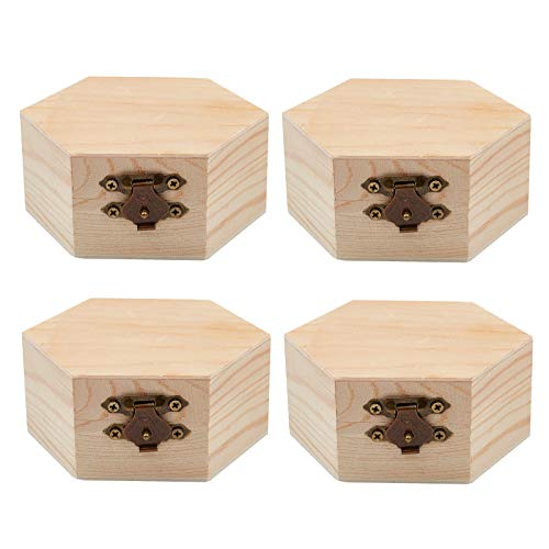 GORGECRAFT 4PCS Unfinished Wood Box Hexagon Wooden Storage Box with Hinged Lid and Front Clasp for DIY Easter Arts Hobbies Jewelry Box, 3.6 x 3.4 Inch