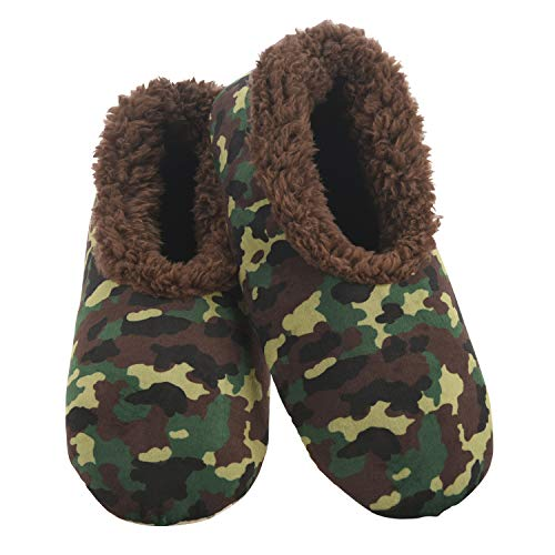 Snoozies Slumbies Slippers for Men - Mens Slippers - Soft Plush Camo Slippers - Green - Medium