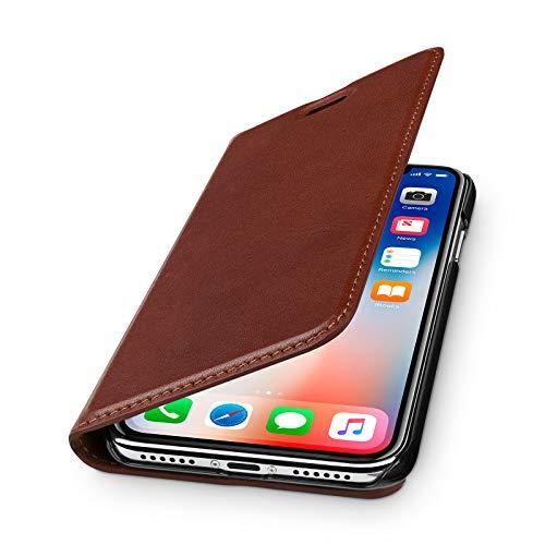 WIIUKA Echt Ledertasche - TRAVEL Nature - für Apple iPhone X & XS -DEUTSCHES Leder- Vintage Braun, kabelloses Laden Qi, mit Kartenfach, extra Dünn, Tasche, Leder Hülle kompatibel mit iPhone X/XS
