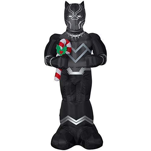 Gemmy 5' Airblown-Black Panther w/Candy Cane-Marvel Christmas Inflatable