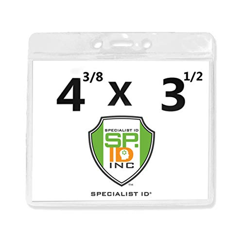 Heavy Duty Vaccine Card Protector 3 X 4 for CDC Immunization Record or 4 3/8 x 3 1/2 Horizontal Badge Holder - Clear Vinyl Plastic Name Tag Sleeve for Travel, Conference & Events by Specialist ID