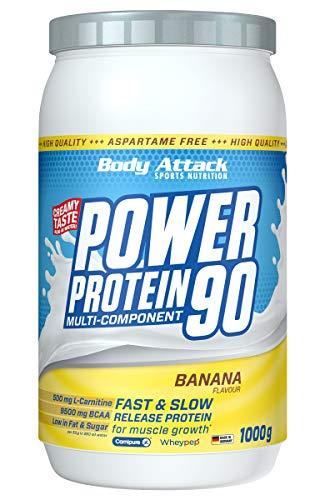 Body Attack Power Protein 90, 5K Eiweißpulver mit Whey-Protein, L-Carnitin und BCAA für Muskelaufbau und Fitness, Made in Germany (Banana Cream, 1 kg)
