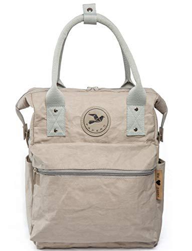 Monaco di Bavaria Papero ® Rucksack 2 in1 aus Kraft Papier waschbar recycelbar | Leicht, Robust, Wasserfest- vegan und nachhaltig | Ultraminimalistisch Handtasche Bagpack (grau)