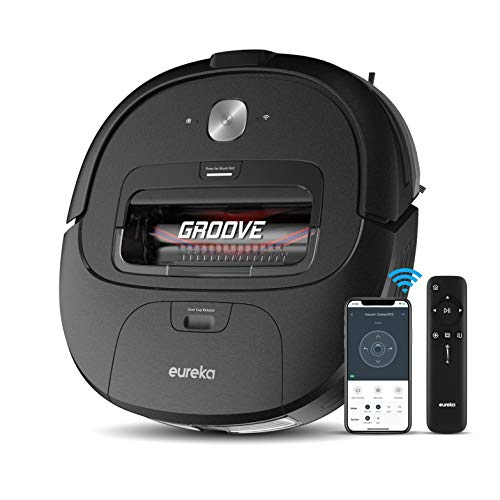 Eureka Groove Robot Vacuum Cleaner, Wi-Fi Connected, App, Alexa & Remote Controls, Self-Charging, NER300 , Black