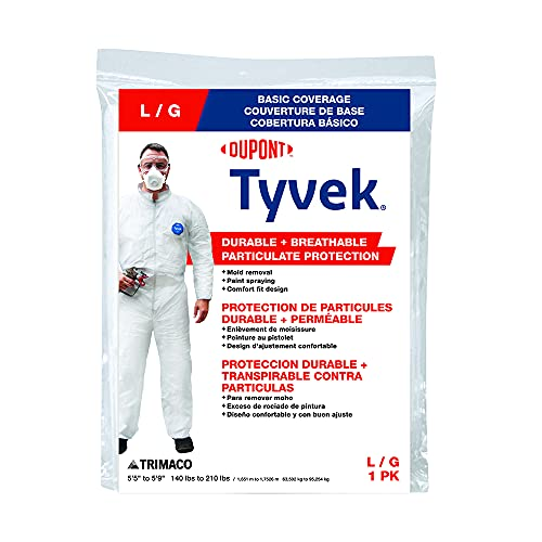 Trimaco DuPont Tyvek Painter's Heavy-Duty Coveralls, White, Large,14122