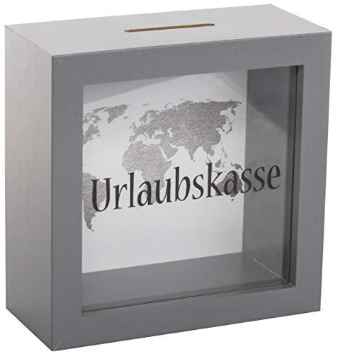 Brandsseller Spardose Urlaubskasse Sparbüchse Bilderrahmen Design mit beschrifteten Sichtfenster und Weltkarte Grau