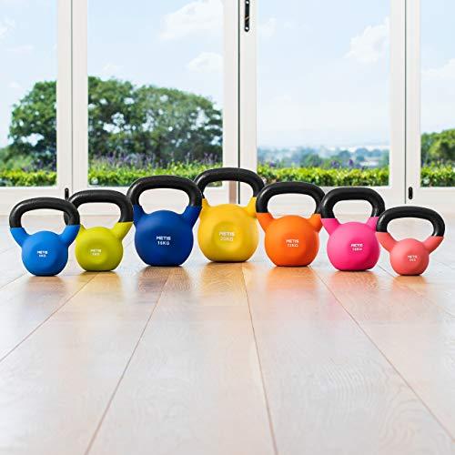 METIS - Kettlebell in Neoprene, da 4 kg a 20 kg, Allenamento a casa e Palestra Fitness, 4 kg