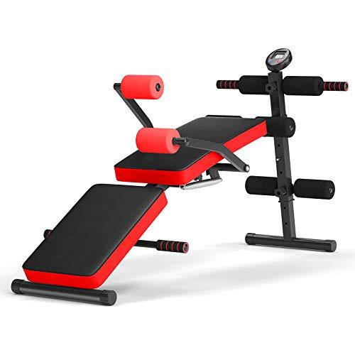 COSTWAY Sit Up Bank klappbar, Trainingsbank höhenverstellbar, Fitnessbank, Schrägbank, Heimtrainer bis zur 130kg belastbar, ideal für Sit-Ups und Leg Lifts (Rot)