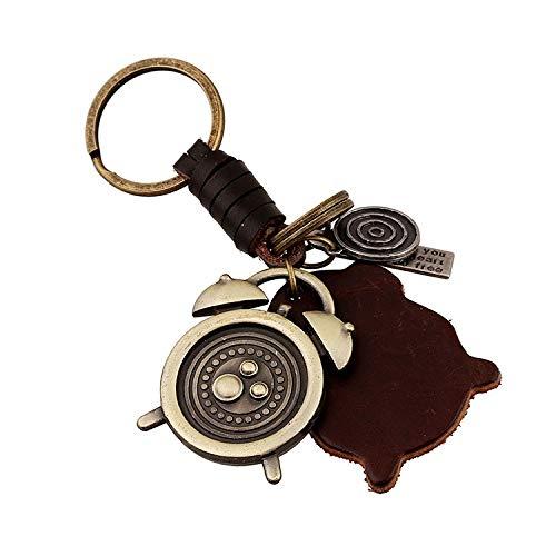 Mode Schlüsselbund Legierung Retro-Wecker Leder Schlüsselanhänger Schlüsselanhänger Männer weben für Autoschlüssel Rucksack Handtaschen Männer Frau