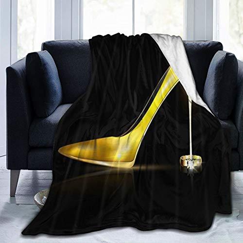 QIUTIANXIU Mantas para Sofás de Franela 150x200cm Zapatos De Tacones Dorados De Niña para Moda Femenina En Negro Manta para Cama Extra Suave
