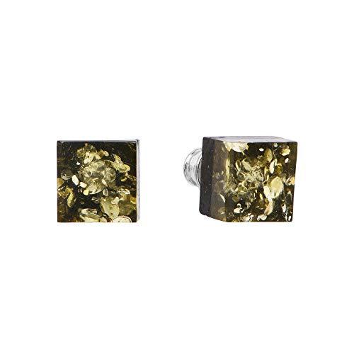 ANDANTE Premium Collection – Master of Zen – Pendientes de ámbar natural del mar Báltico, plata de ley 925 y roble negro, certificado, oro del mar