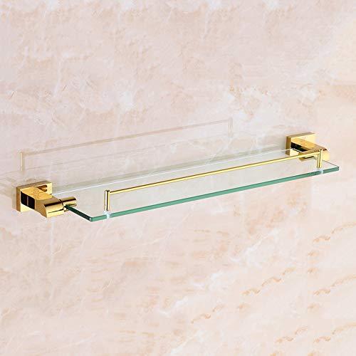 Slizone Acabado con baño de Oro Acabado Cuadrado Estante de Vidrio Cuarto de baño Montado en la Pared Artículos de tocador Estante para el baño Esquina de baño Ducha Organizador cosmético Accesorios