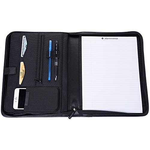 Alpine Swiss Zippered Writing Pad Business Organizer Portfolio with Tablet Sleeve Left & Right Handed