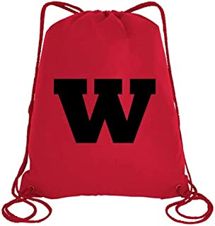 IMPRESS Drawstring Sports Backpack Red with Rockwell Letter W
