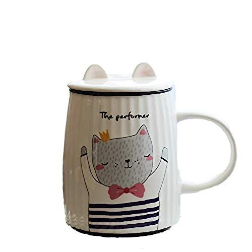 KYSM Cat Stripe Tasse en Céramique Bureau Petit Déjeuner Tasse Personnalité Tasse À Café Tasse À Lait 500ml Violet