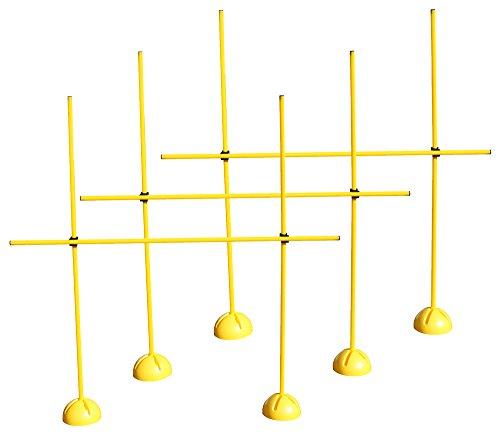 3er Sprungstangen-Set für effektives und vielseitiges Training - Sprungkraft, Dribbling und Beweglichkeit - Standfüße sind mit Sand befüllbar - (9 Stangen, 6 X-Standfüße, 6 Clips), Gelb, One size - 3X XS160yc