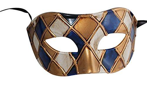 Harlequin Bleu et Antique Ivoire/Or Vénitien Masque de Mascarade Partie des Yeux Masque Carnaval
