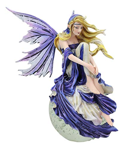 Ebros Fantasy Twilight Blonde Fairy Sitting On Lunar Full Moon Bubble Glass Ball Statue 8.5' Tall by Artist Nene Thomas Dream Catcher Fairies Nymphs Pixies Collectible Figurine