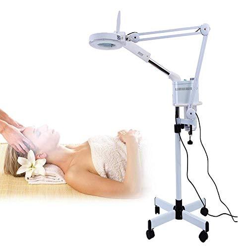 3 en 1 Lámpara de lupa con ozono Cara vaporizador Luz fría LED Lámpara de pie que magnifica 5X Para inspección, médico, cosmetología, cuidado de la piel ES